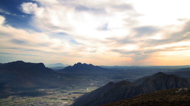 sunset in franschhoek